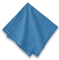 Cotton Hemstitch Napkin Sea Blue, Set of 6