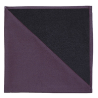 Bicolor Cotton Napkin Aubergine / Noir, Set of 6