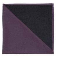 Bicolor Cotton Napkin Aubergine / Noir, Set of 6