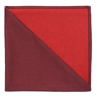 Bicolor Cotton Napkins Aubergine / Rouge , Set of 6