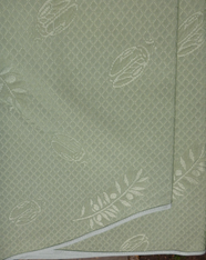 "Detail of green 110"" Round tablecloth, no seams"