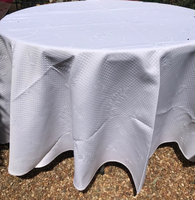 "Round 110""  White Provence Tablecloth"