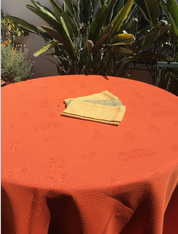 "Round 110""  Orange Provence Tablecloth"