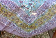 Joy Grey Aqua Cotton Organza Tablecloth