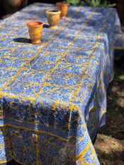 Bougainvillea Blue Yellow Organza Tablecloth