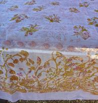Petite Fleur Blue Organza Tablecloth