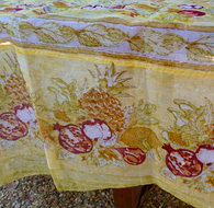 "71x71""Tutti Frutti Yellow Organza Tablecloth"