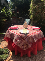 """Our square organza can be paired with our 110"""" round yellow, green or red Provence tablecloth."""