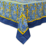 "71 x 142"" Bougainvilliers Blue Tablecloth"