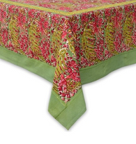 """71 x 142"""" Bougainvillea Red Green Tablecloth"""