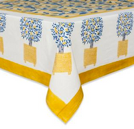 "71 x 142"" Lemon Tree Tablecloth"