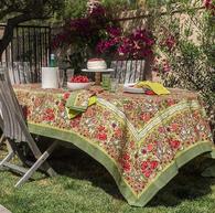 "71"" x 142""Jardin Red/Green Tablecloth"