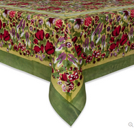 "71"" x 142""Jardin Red/Green Tablecloth"