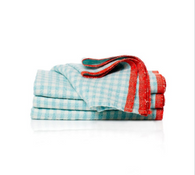 2 Tone Gingham Napkins (Aqua/Crimson), Set of 4