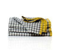 2 Tone Gingham Napkins (Grey/dijon), Set of 4