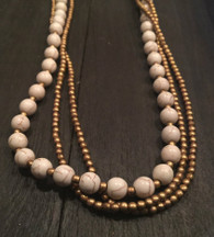 Golden thread and white Beads Necklace