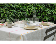 Rainbow Mix White Tablecloth