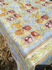 """Cotton Organza Tutti Frutti Blue Square Tablecloth 71 x 71"""""""