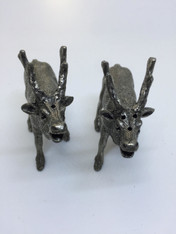 PEWTER SALT AND PEPPER  DEER DISPENSERS