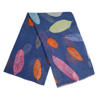 Leaves design scarf blue background