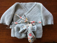 Set for newborn : Sweater and booties in light blue