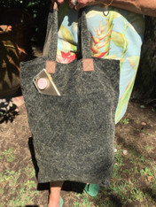 Grey Linen Bag with Leather straps