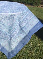 """71""""x71"""" La Mer Aqua Organza Tablecloth"""