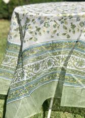 "71""x71"" Joy Green Blue Organza Tablecloth"