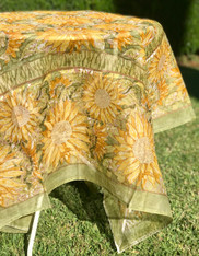 """Cotton Organza Sunflower Yellow Green Square Tablecloth 71 x 71"""""""