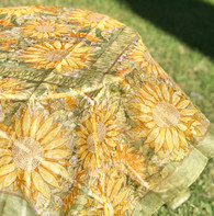 "71""x71"" Sunflower Yellow Green Organza Tablecloth"