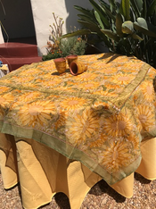 """Organza can be paired with 110"""" orange, yellow, or green Provence tablecloth"""