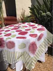 """Pair our organza with our 110"""" round white, green or red Provence tablecloth"""