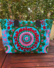 Embroidered Handbag Turquoise, Red & Pink