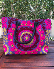 Embroidered Handbag Purple, Pink and Burgundy