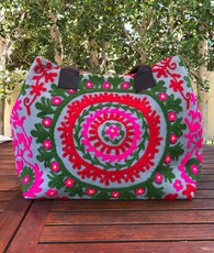 Embroidered Handbag Grey, Green, Pink and Red