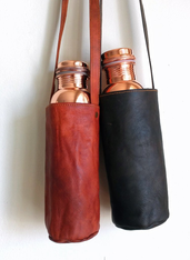 Copper Water Bottle Leather Carrier
