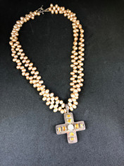 Freshwater Pearl Necklace with Cross Pendant Yellow
