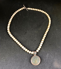 Freshwater Pearl Necklace with Coin Pendant