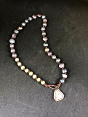 Freshwater Colored Pearl Necklace with Stone