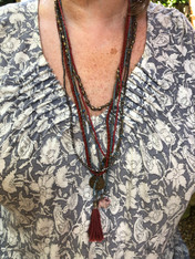 Multi Strand Beaded Necklace with Pendants