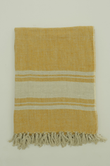 Inlay Border Light Yellow Linen Throw