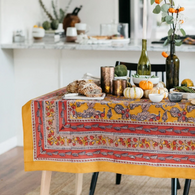 Acorns and Foliage Mustard Tablecloth