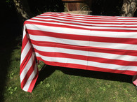 Coated Red Stripe Tablecloth