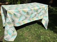 Coated Tropical Print Beige Linen Tablecloth
