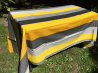 Coated Stripes Yellow Gray Beige Tablecloth