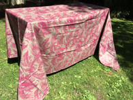 Coated Toile Print Magenta Tablecloth