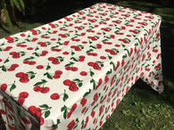 Coated Cherry Print White Tablecloth