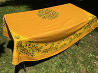 "Coated 71"" Round Tablecloth Yellow with Yellow Border Provence Textured"