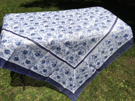 Cotton Organza Pomegranate Blue Square Tablecloth 71 x 71""