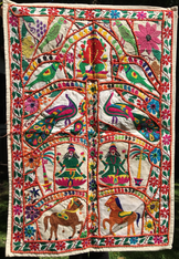 "Indian Tree of Life ""Horses & Parrots"" 26 x 38"""